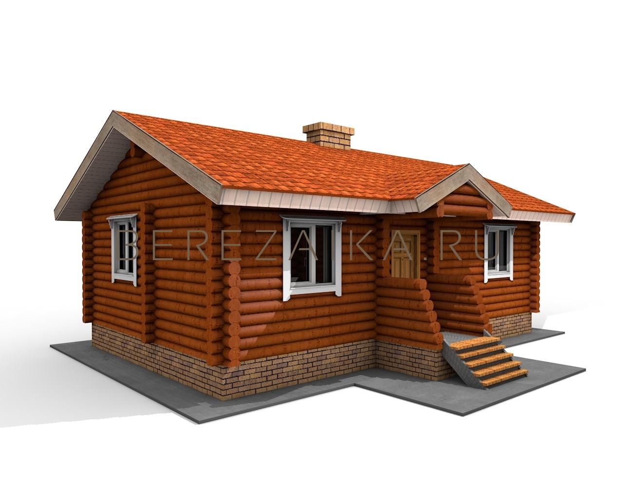 Фото одноэтажного дома с двускатной крышей